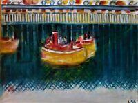 "Original Oil Painting, Harbor Scene, Signed, by Nalan Laluk, ""Puffers"""