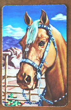 HORSE HEADS - PALOMINO IN WESTERN BRIDLE- VINTAGE SINGLE SWAP PLAYING CARD