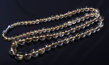 Beauty Natural Rare Gold Rutilated Quartz Crystal Beads Necklace 4-9.5mm