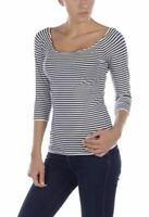 Last Tango 1499 White & Navy Striped Boat Neck 3/4-Sleeve Knit Top S/M