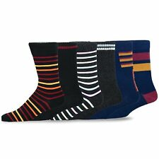 TeeHee Men's Cotton Crew Dress Socks 6-pack (Stripes) Striped Solid Set 10-13