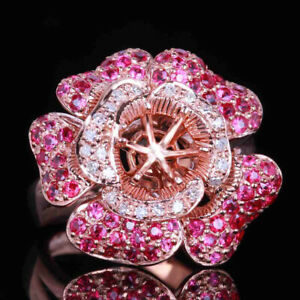 14K Rose Gold Diamond Semi Mount 6mm Round Cut 6mm Engagement Wedding Fine Ring