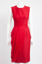 GIAMBATTISTA VALLI Red Wool Silk Chiffon Drape Sleeveless Sheath Dress 40/XS/4