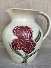 "Vintage Pottery Iris Pitcher Pottery Marked by Earthworks Pottery 8"""