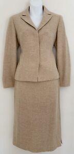 ANNE KLEIN Women Cashmere/Wool Bl. Skirt Suit Beige Jacket Sz 4 Skirt Sz 6