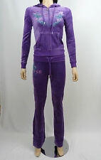 Christian Audigier Velour Tracksuit Hoodie Jog Set WJ0161 Violet Purple Birds L