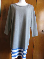 Gap women's gray blue white striped cotton sweater dress size xlarge NWT