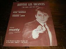"""Partition petit format Monty bientôt les vacances """"Yéyé année 1950/1960 sixties"""