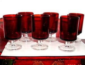 VTG GORGEOUS 6 Ruby Red Glass Champagne Wine Glasses Frosted base Marked France.