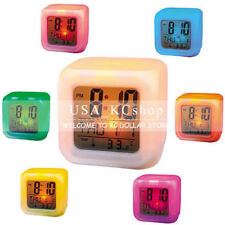 New Glowing 7 LED Color Change Digital Desk Alarm Clock Temperature Thermometer