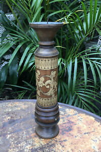 Antique Lombok Candle Holder Timber Pattern  Inlaid - 28cm B