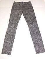 Paige Verdugo Legging Jeans Size 25 Womens Gray Leopard Stretch Skinny Leg Denim