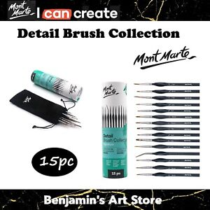 Au Detail Brush Mont Marte Signature 15pc Collection Artist Brushes Gift