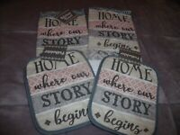 NEW Set HOME WHERE OUR STORY BEGINS Kitchen TOWEL &  POTHOLDERS Blue Gray Pink