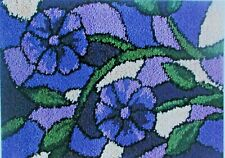 """LATCH HOOK RUG  KIT  """" STAINED GLASS PURPLE RUG"""" Floral design by Mary Maxim"""