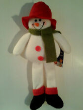 Super Cute Carrot Nosed Floppy Red Hat Hanging Snowman Christmas Decoration BNWT