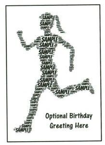 FEMALE RUNNER / JOGGER WORDART  BIRTHDAY CARD- GIRL/MUM/SISTER ANY NAME/COLOUR