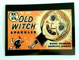 *UNUSED* Halloween Postcard:Old Witch Sparkler Vintage Image~Reproduction