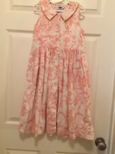 girls 6/6x  Eagles Eye  Linen/ Cotton Blend Button Front Pink Toile Dress