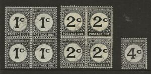 BR. HONDURAS  SG D1/D3  THE 1c & 2c IN VERY FINE USED BLOCKS OF 4 & 4c FINE USED