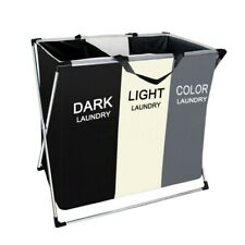 Laundry Hamper Foldable Laundry Basket with 3 Grid Large Dirty Clothes Sorter