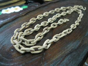 Vintage WOODEN CHAIN Rare Carved Wood Folk Art Sculpture Carving 39""