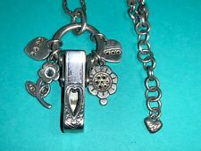 🌸 BRIGHTON Silver Crystal Charms Lanyard Badge ID Card Holder Necklace(N27)🌸