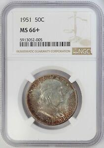 1951 NGC MS 66+ United States Franklin Head Half Dollar