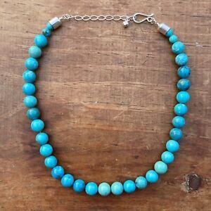 Beautiful Round Turquoise Beaded Necklace Designer Jay King Mine Finds DRT 925