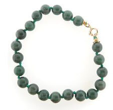 "Green Jade Bead Bracelet 8mm 8.5"" Knotted"