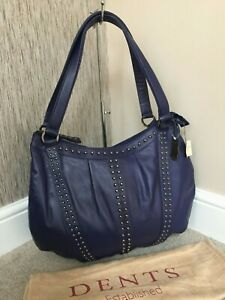 DENTS SOFT LEATHER STUDDED HOBO TOTE BAG RETAIL BNWoT