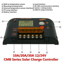 10/20/30A PWM 12/24V Solar Panel Battery Controller Charge Regulator PV 2-USB YU