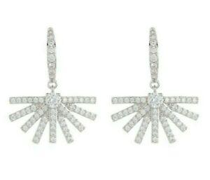 Nadri Ambrosia Fan Drop Hook Earrings, Silver tone, NWT $65