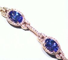 5.68CT 14K Gold Natural Tanzanite Diamond Vintage D Block Halo Tennis Bracelet