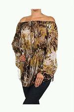 Brown Animal Print Long Sleeves Off The Shoulder Tunic Top, Blouse, Medium