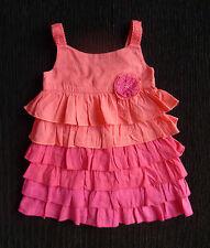 Baby clothes GIRL 6-12m 23cmx42cm Monsoon bright pink frill cotton no sl. dress