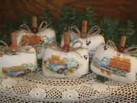 Farmhouse Fall Decor 5 Blue Trucks Pumpkins Fabric Bowl Fillers Wreath Accents