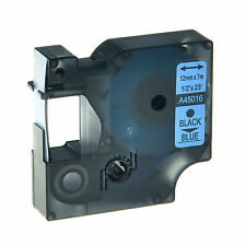 """Black on Blue Label Tape For DYMO D1 45016 LabelPoint 300 250 160 200 1/2"""" x 23'"""