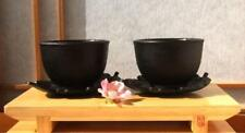 Cast iron hobnail tea cup and leaf shaped coaster X 2