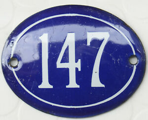 Old blue oval French house number 147 door gate plate plaque enamel steel sign