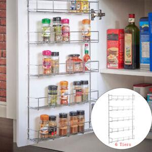 Spice Rack for Wall Kitchen Door Cupboard Storage Pantry Bottle Organizer 6 Tier