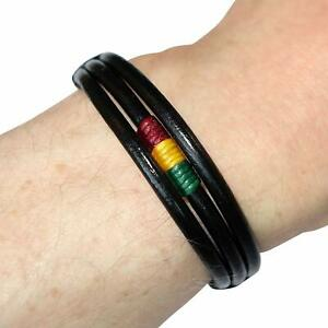 Rasta Striped Black Leather Bracelet Wristband Bangle Mens Womens Kids Jewellery