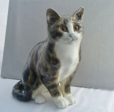 More details for mike hinton pottery large seated tabby cat figurine - beautiful! winstanley