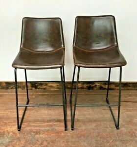 PAIR OF TALL BAR STOOLS / METAL FRAME / CHESTNUT BROWN /  FAUX LEATHER / VEGAN