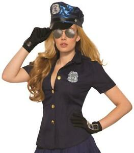 Sexy Police Shirt Officer Cop Blue Fancy Dress Halloween Adult Costume Accessory