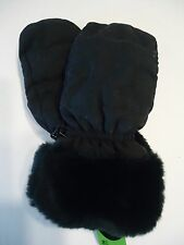 Ladies Black Fur Cuffed Finger Slot Mittens, S/M