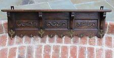Antique French Country Oak Wall Shelf Coat Hat Rack Copper Pot Rack Kitchen