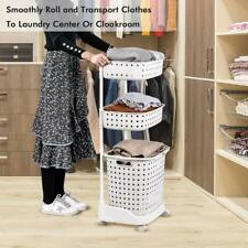 Rolling Storage Cart Detachable with Wheels 3-Tier Basket Stand With 6 Side Hook