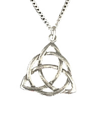 Celtic Triquetra Knot Pendant With Chain Handcrafted in Solid Pewter (WA) CTKPP