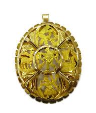 18K Yellow Gold Aztec Custom Design Charm Necklace Pendant & Brooch ~ 11.7g